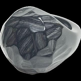 Bold Black Bakelite Ring