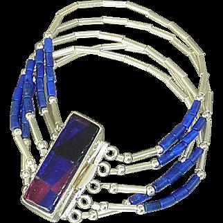5 strand Lapis and Sterling Silver Bracelet