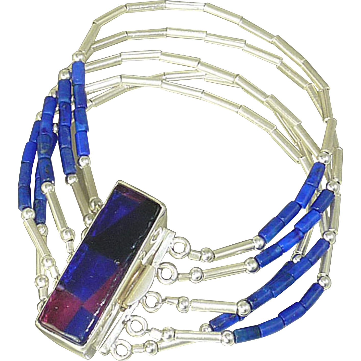 5 strand Lapis and Sterling Silver Bracelet