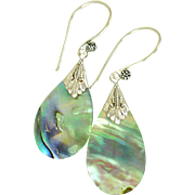 Abalone and Balinese Sterling Silver Earrings