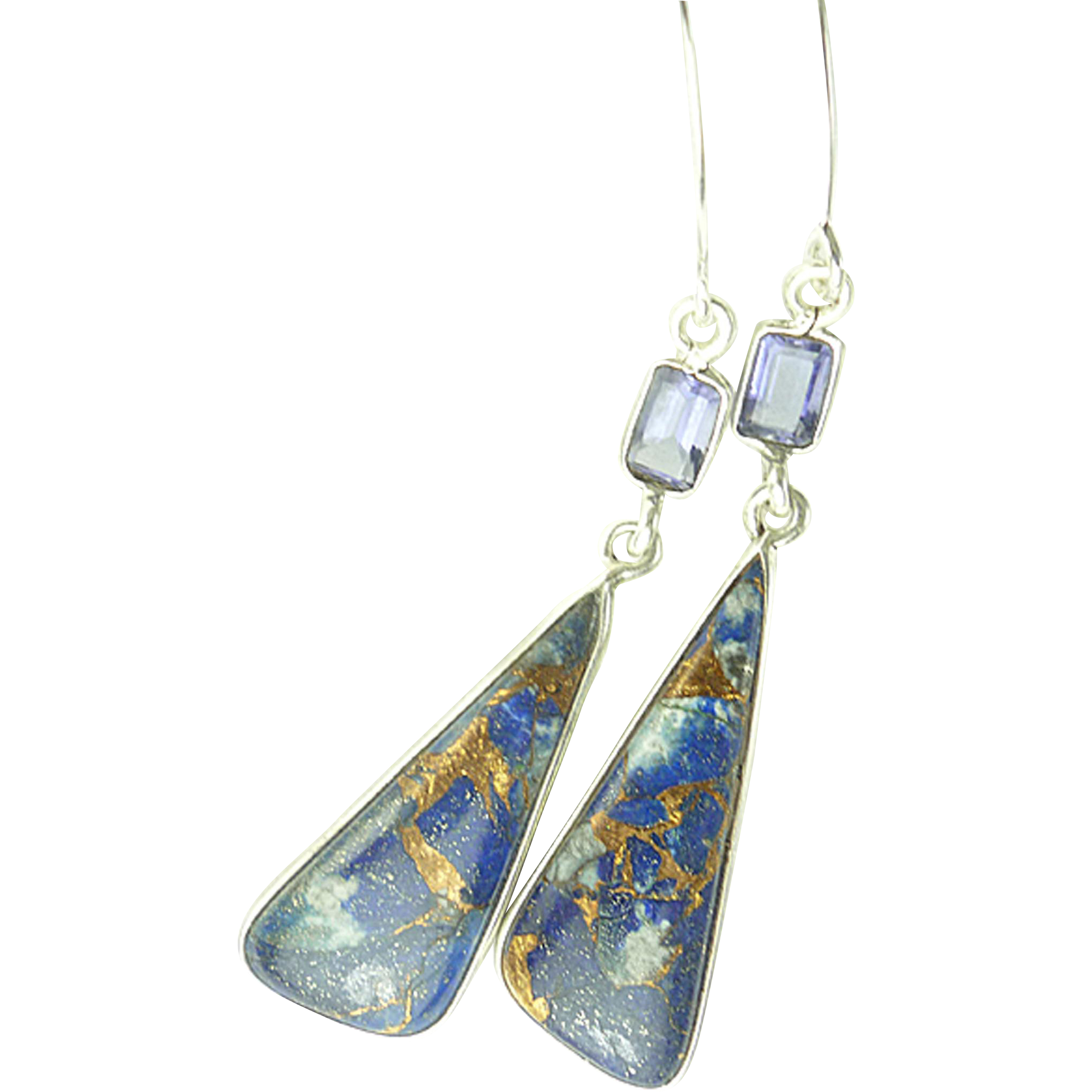 Copper Infused Blue Lapis and Iolite Sterling Earrings