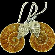 Ammonite & Balinese Sterling Silver Earrings