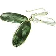 Russian Seraphinite and Opal Balinese Sterling Silver Earrings