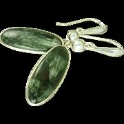 Russian Seraphinite Sterling Silver Earrings