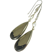 Pyrite and Freshwater Pearl Sterling Silver Earrings