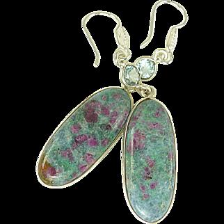Ruby-In-Kyanite and Blue Topaz Sterling Silver Earrings
