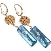 London Blue Topaz Colored Quartz Earrings