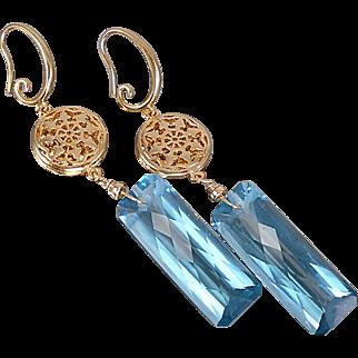 London Blue Topaz Quartz Earrings