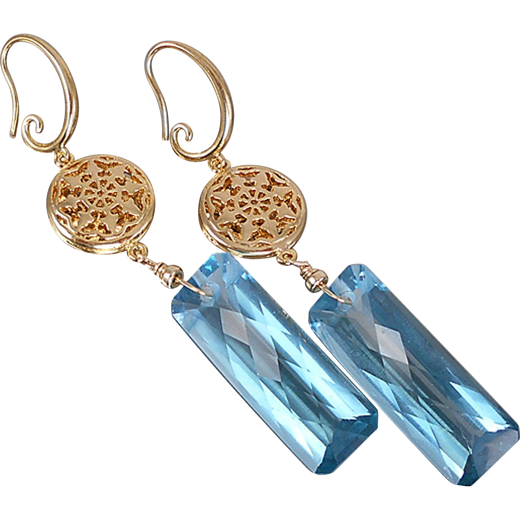 London Blue Topaz Colored Quartz Earrings
