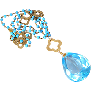 AAA Blue Topaz & Turquoise Vermeil Necklace