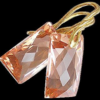 AAA Light Peach Citrine & 24k Gold Vermeil Earrings