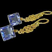 Long, Slender Tanzanite Quartz & Gold Vermeil Earrings.