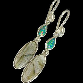 Labradorite & Fire Opal Sterling Silver Earrings