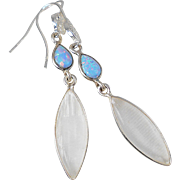 Selenite and Opal Filigree Sterling Silver Earrings