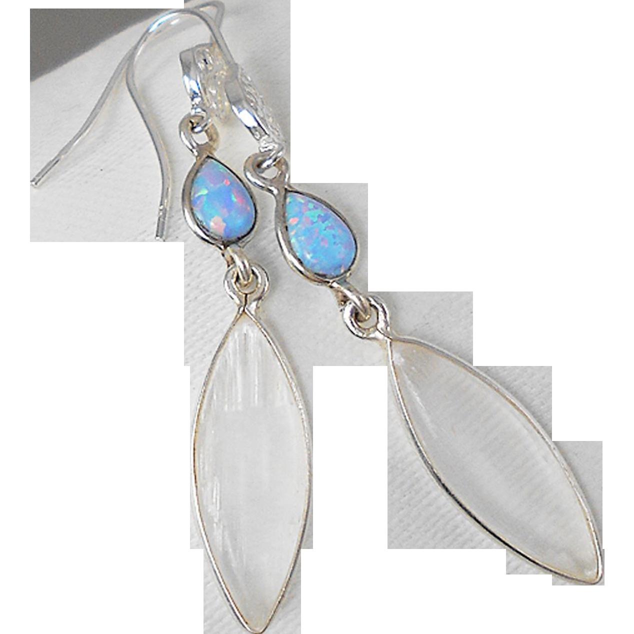 Selenite and Opal Filigree Sterling Silver Earrings