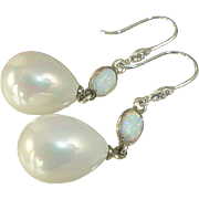 South Sea Shell Pearl and Opal Sterling Silver Earrings