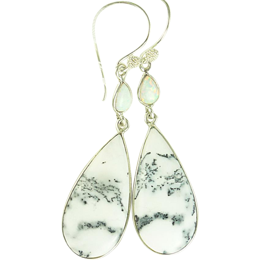 Reserved - Dendritic Opal Sterling Earrings