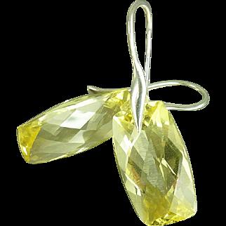 Lemon Yellow Quartz Sterling Earrings