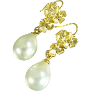 South Sea Shell Pearl and GF Dogwood Earrings