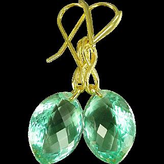 Green Amethyst Vermeil Earrings