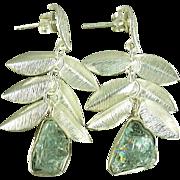 Rough Aquamarine Leaf Sterling Earrings