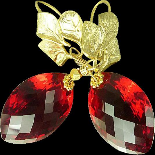 Red Topaz Earrings
