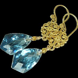 AAA London Blue Topaz & 24k Gold Vermeil Earrings