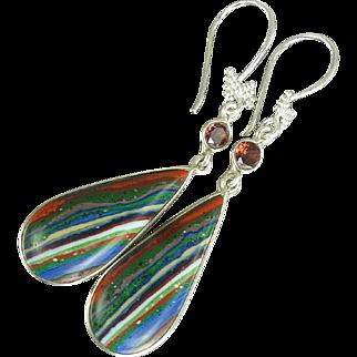 Rainbow Calsilica & Garnet Balinese Sterling Silver Earrings