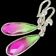 Watermelon Tourmaline Sterling Silver Earrings