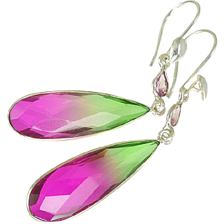 Watermelon Tourmaline Sterling Silver Earrings