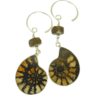 Ammonite & Smoky Quartz Balinese Sterling Silver Earrings
