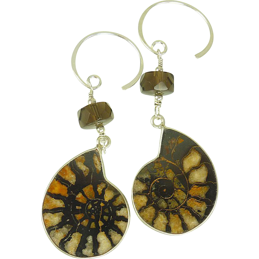 Ammonite and Smoky Quartz Balinese Sterling Silver Earrings