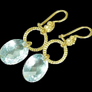 Sky Blue Topaz & 24k Gold Vermeil Earrings
