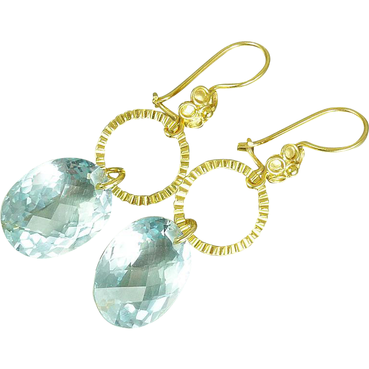 Sky Blue Topaz & 24k Gold Vermeil Earrings