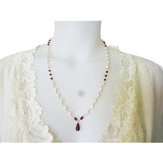 Ruby and Freshwater Pearl Necklace, July Birthstone Layering Necklace