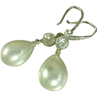 South Sea Shell Pearl and White Topaz Sterling Silver Earrings
