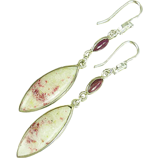 Ruby and Cinnabar Sterling Silver Earrings