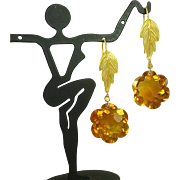 Madeira Citrine Flower and Vermeil Leaf Earrings, 35.00ctw