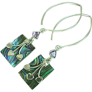 Abalone and Amethyst Sterling Earrings