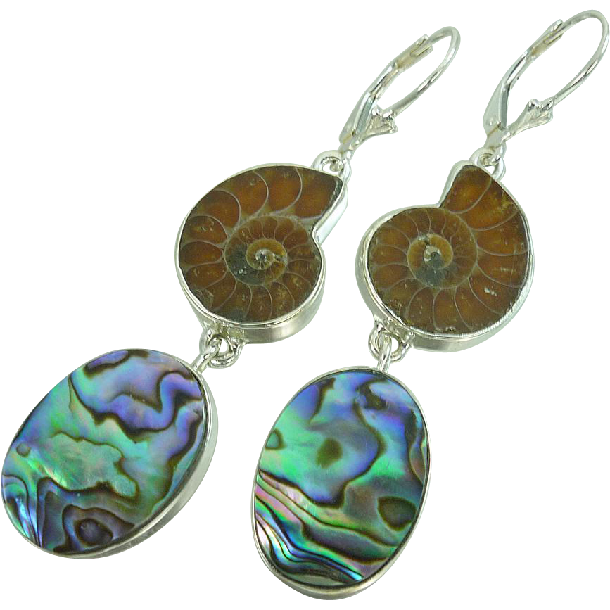 Ammonite and Abalone Sterling Silver Earrings