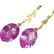 Reserved~ Pink Topaz Gold Vermeil Leaf Earrings, 40.6 carats