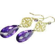 Reserved~~~ Royal Velvet Amethyst and 24k Gold Vermeil Earrings