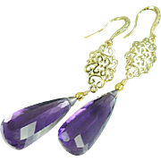 Reserved~~~Amethyst and CZ Gold Filled Earrings