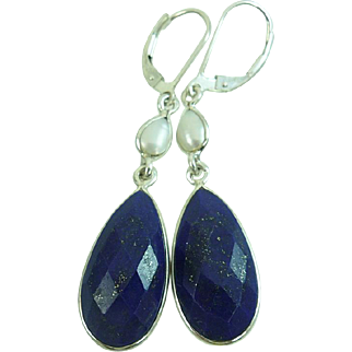 Lapis Lazuli and Pearl Sterling Silver Earrings