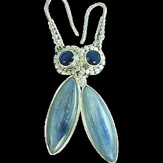 Sapphire and Kyanite Sterling Silver Earrings