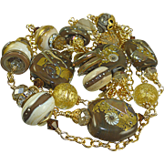 Venetian Linked Gold Vermeil Lampwork Necklace