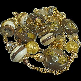 Venetian Linked Gold Vermeil Lampwork Necklace