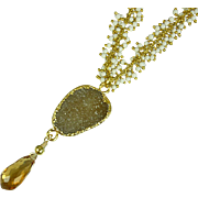 Golden Citrine and Druzy Vermeil Cluster Necklace