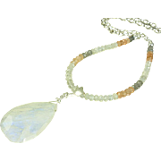 25% Off Black Friday Sale - Rainbow Moonstone Pendant Sterling Necklace