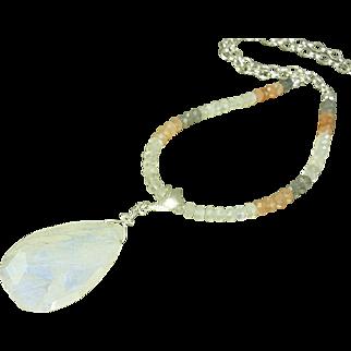 Rainbow Moonstone Pendant Sterling Necklace